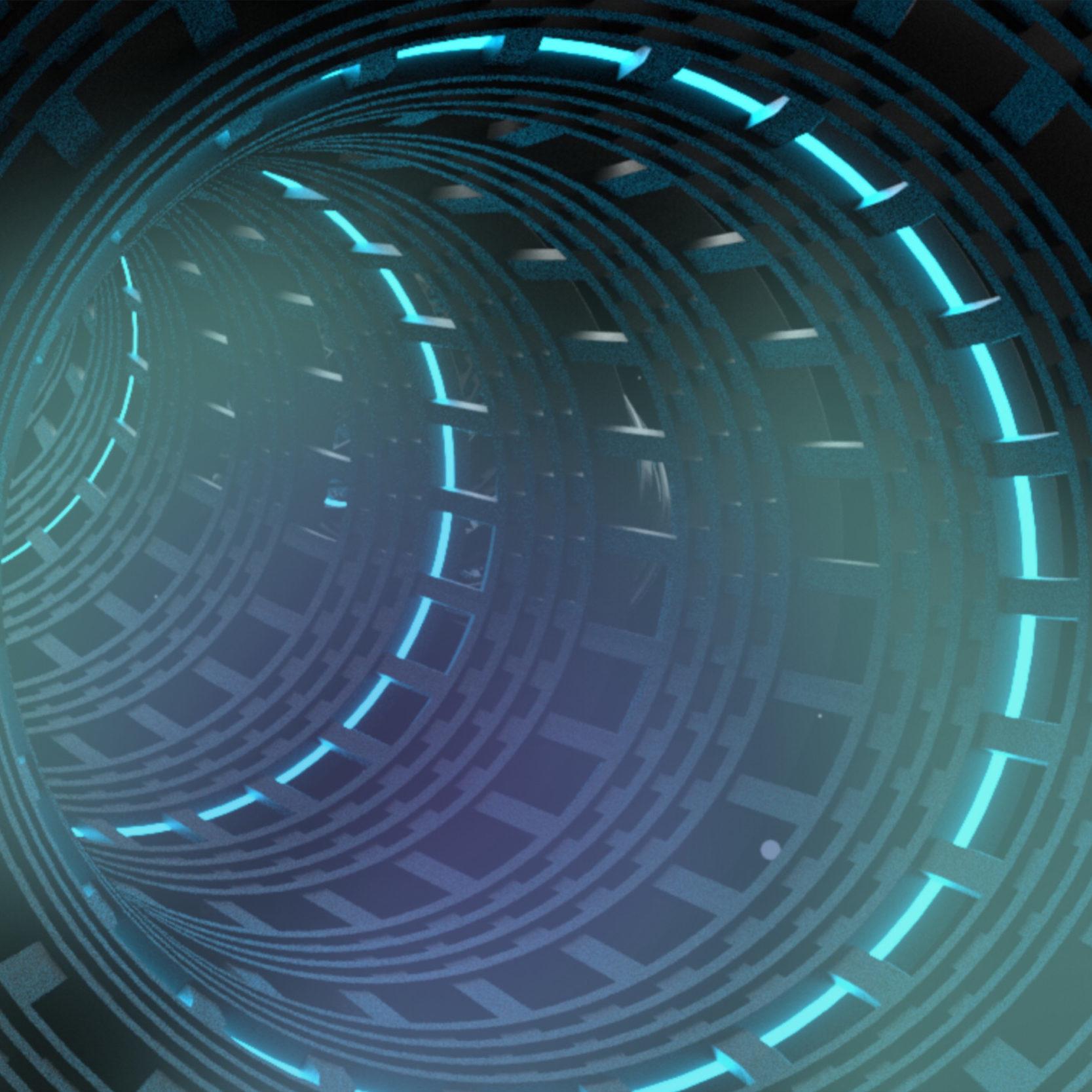 Bild eines Tunnels mit Lichstreifen
