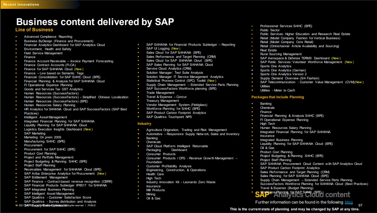 SAP Analytics Cloud Business Content Juni 2021