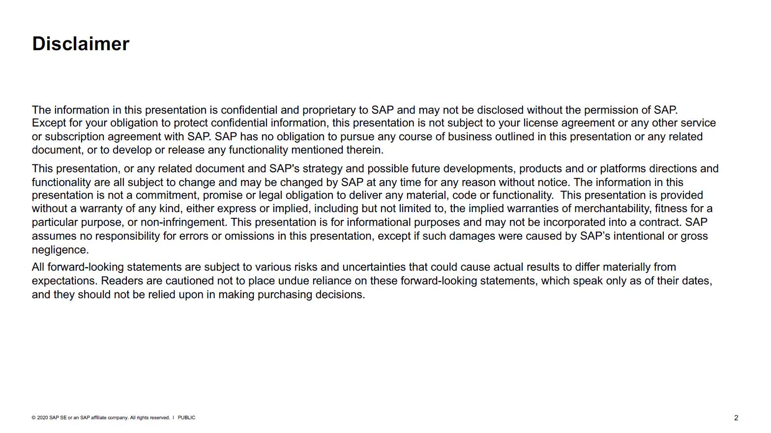 SAP Disclaimer