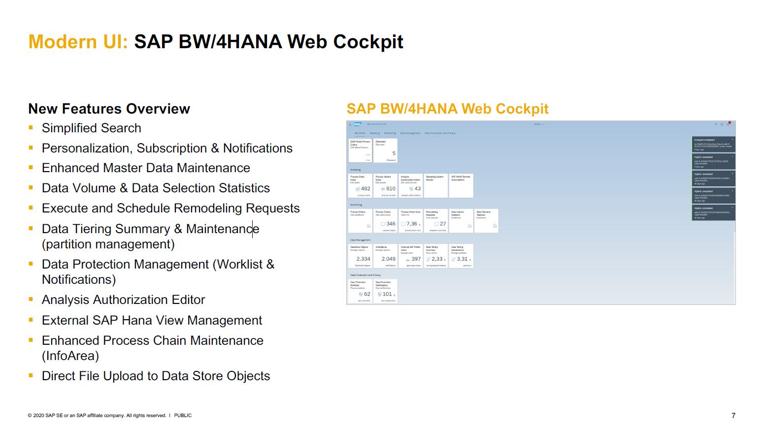 SAP BW/4HANA Web Cockpit