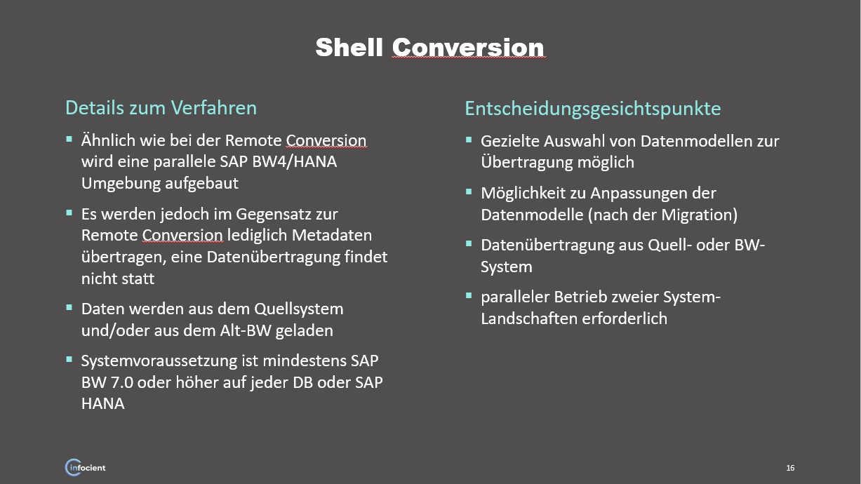 BW/4HANA Shell Konversion