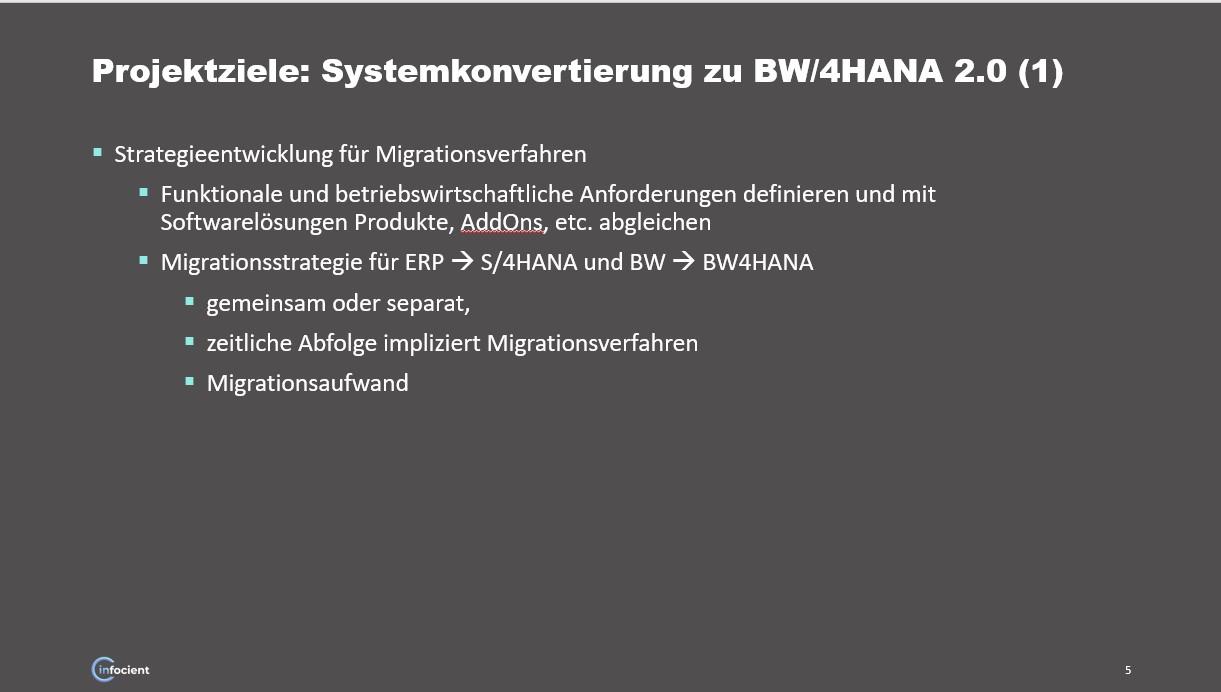 Projektziele bei Systemkonvertierung zu BW/4HANA 1