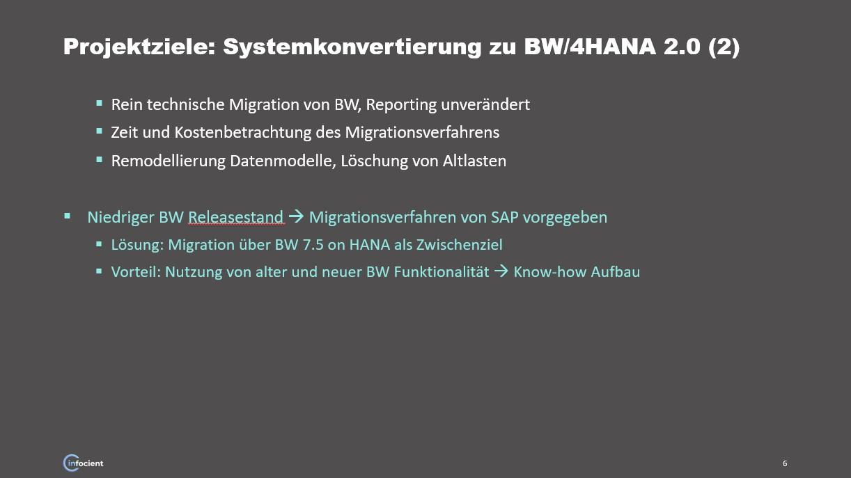 Projektziele bei Systemkonvertierung zu BW/4HANA 2
