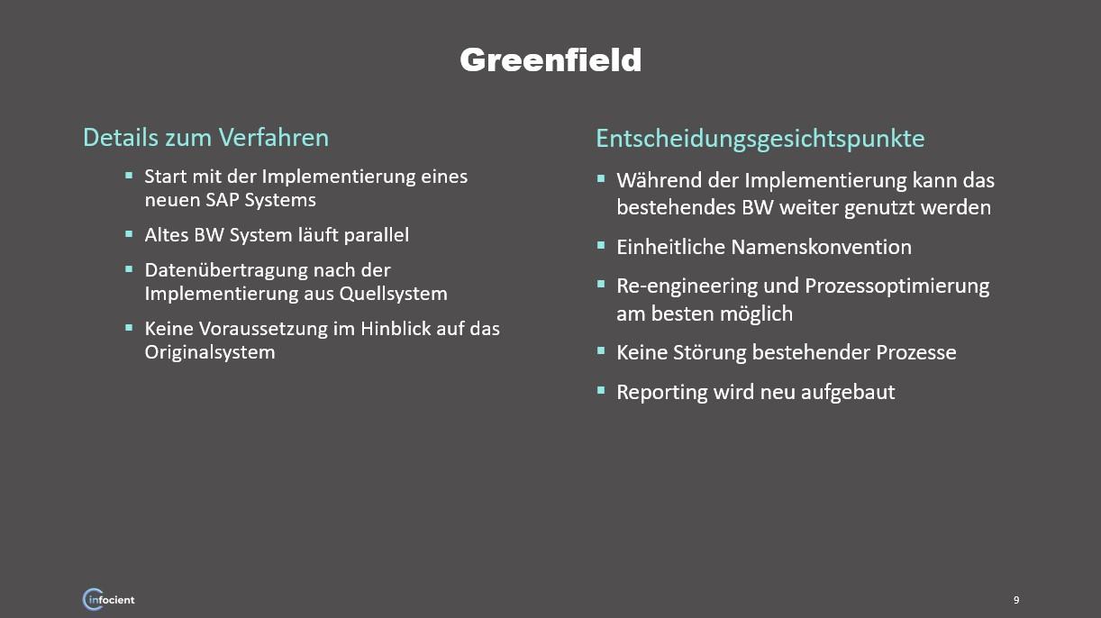 BW/4HANA Greenfield Ansatz
