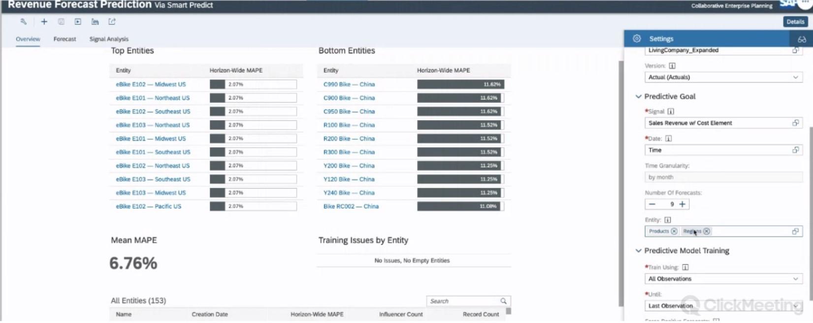 SAC Planning Live-Demo, Konfiguration Vorhersagemodell