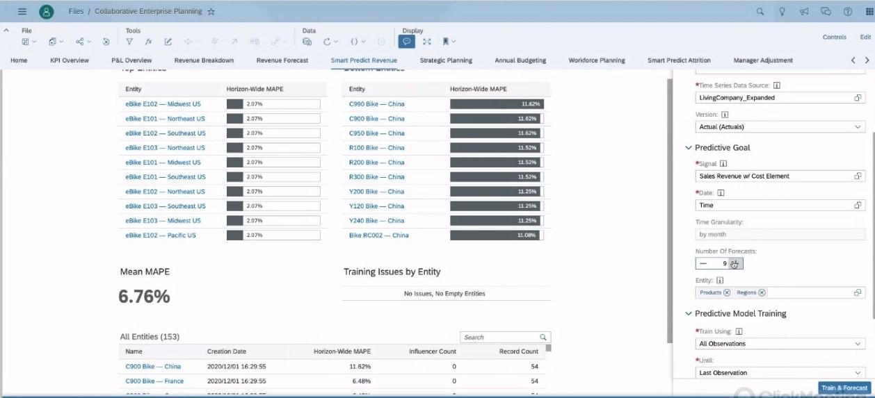 SAC Planning Live-Demo Smart Predict Konfiguration