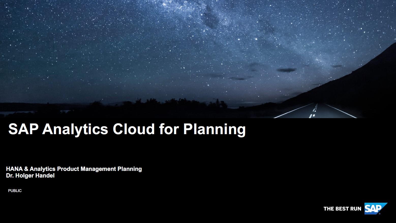 SAP Analytics Cloud Planning
