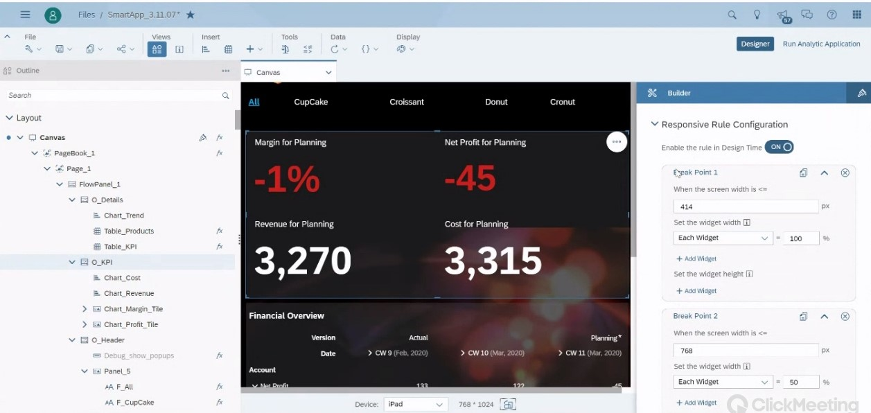 SAP Analytics Designer Responsive Design für Devices