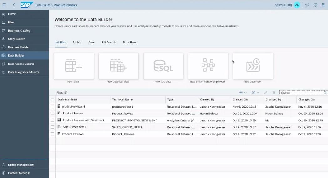 Screenshot des Data Builder in DWC