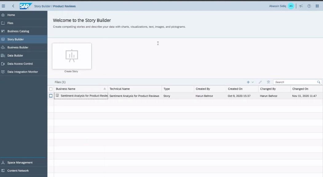 Screenshot Story Builder in DWC