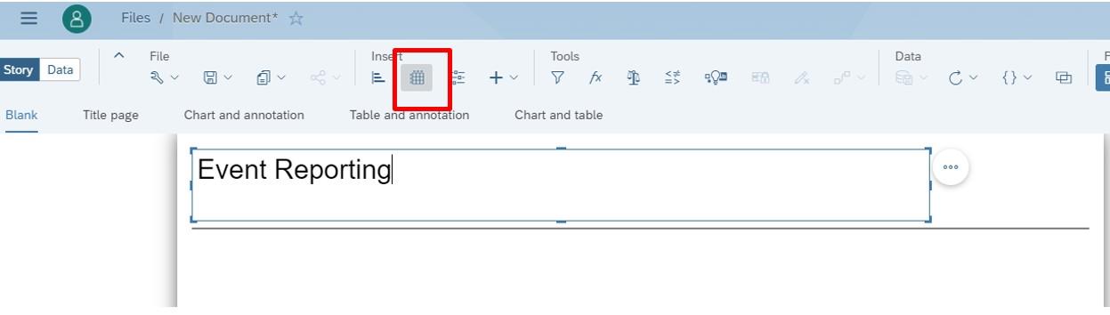 SAP Analytics Cloud Datenmodell als Tabelle einfügen