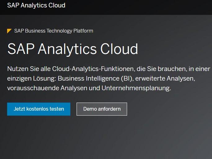 Homepage Test Tenant für SAP Analytics Cloud