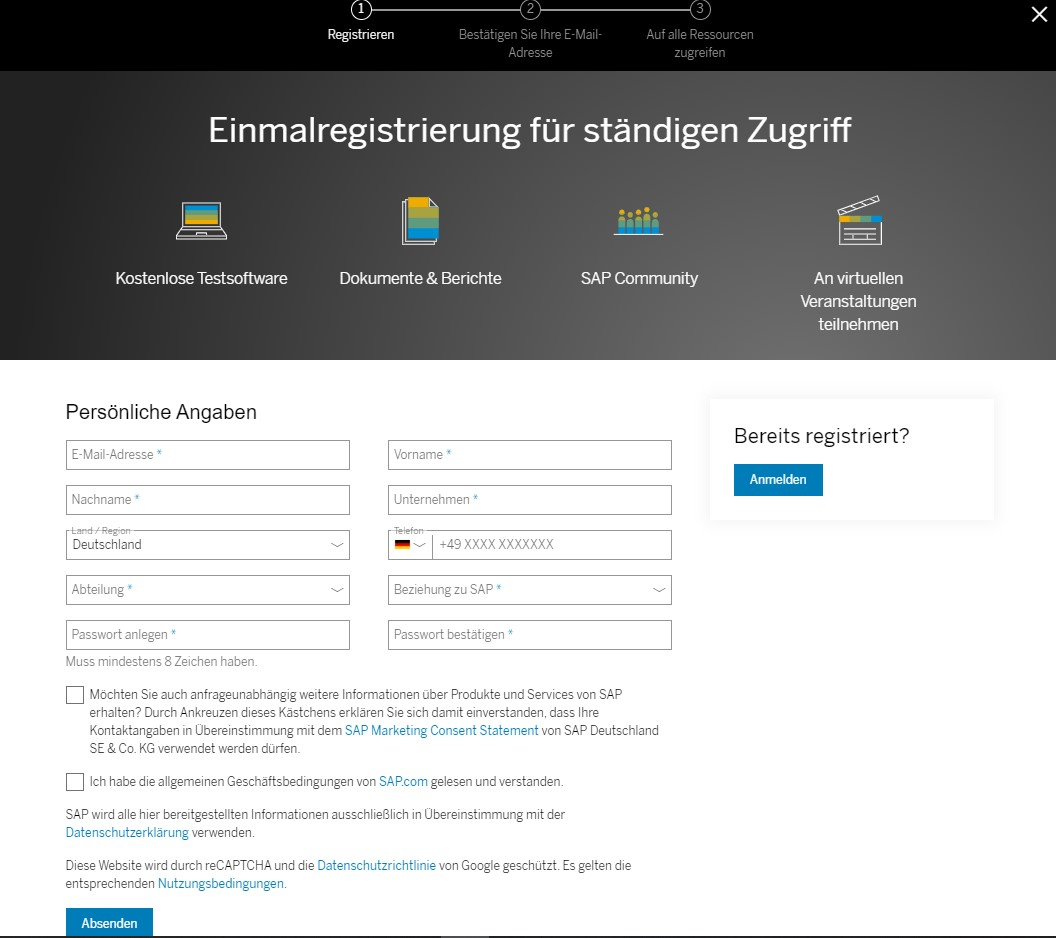 Registrierungsseite für SAP Analytics Cloud
