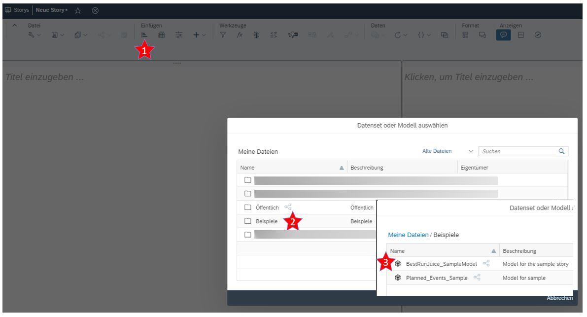 SAP Analytics Cloud Beispiel Model auswählen