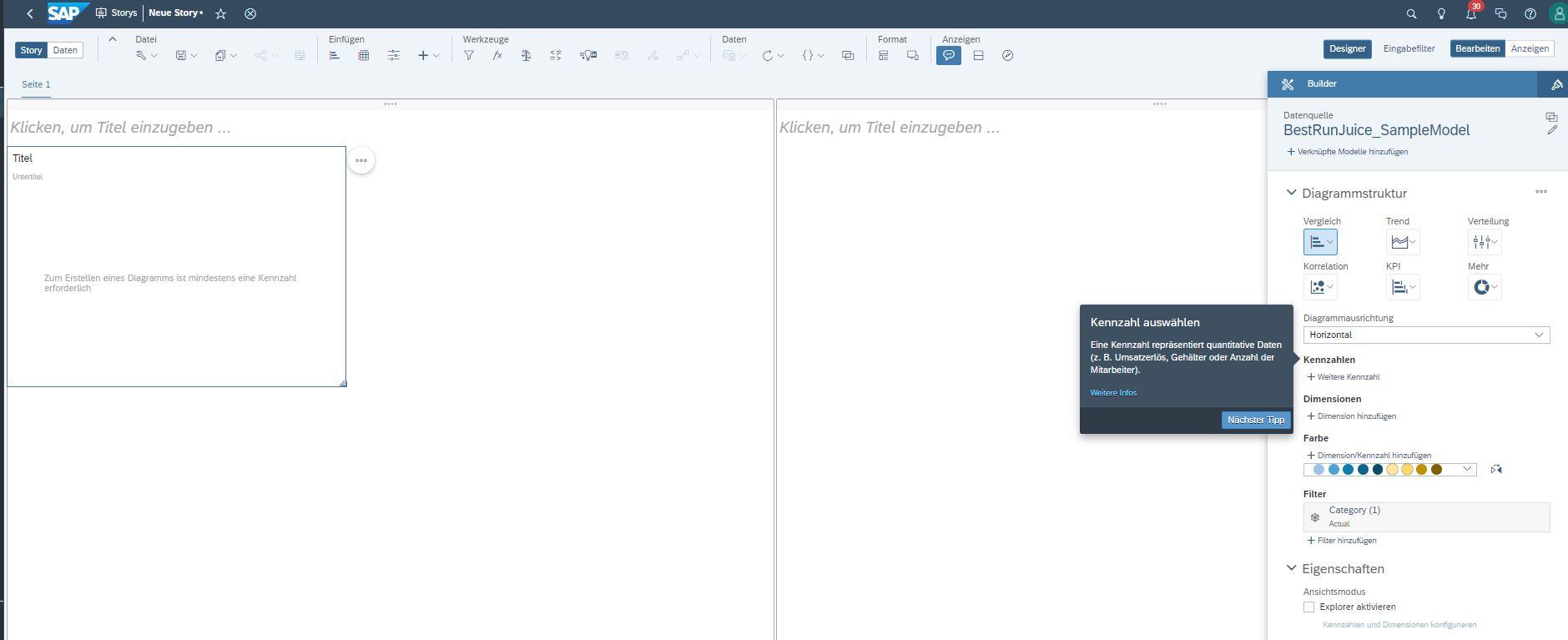 SAP Analytics Cloud Builder öffnen