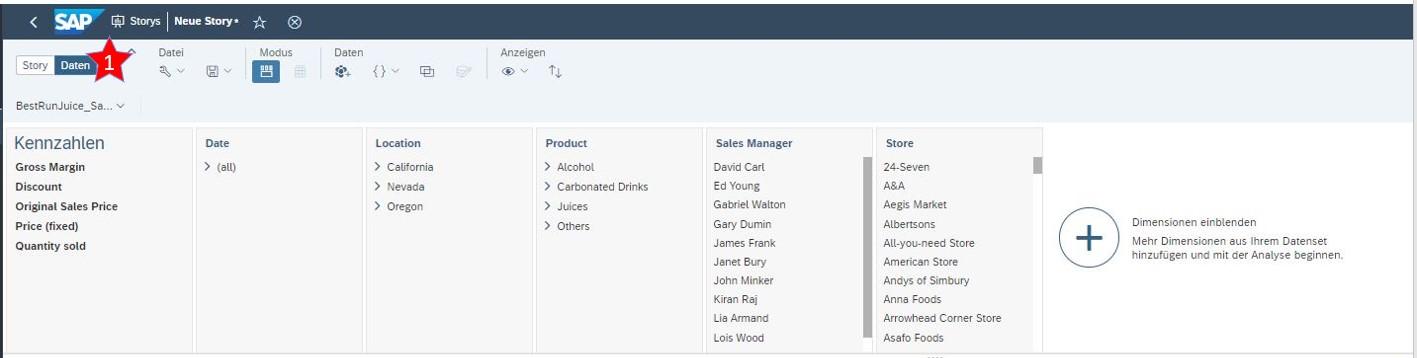SAP Analytics Cloud Datenansicht